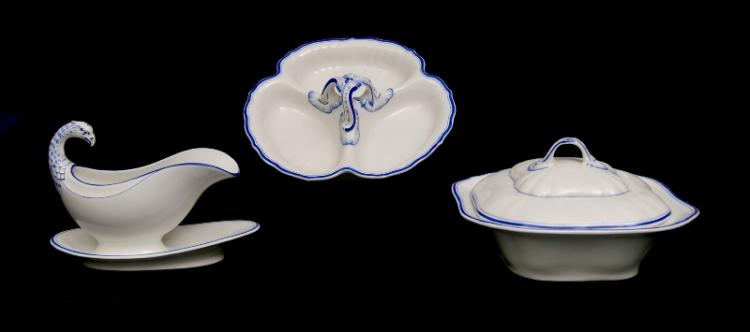 3 Items SPM German Porcelain Tableware.  Matching blue & white decoration. Incl. lidded vegetable dish; sauceboat with attached underplate; & 3 section serving plate.