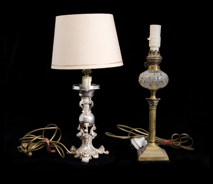 2 Var Table Lamps.  Incl. ornate silver plated, classical dolphin decoration; & converted fuel lamp, crystal font, brass column to base.