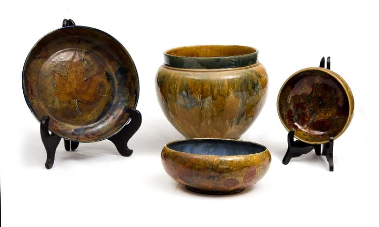 4 Var Royal Doulton Autumn Leaf Stoneware Items. Incl. jardiniere marked to base #2109, signed BH; & 3 var bowls.