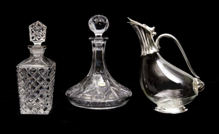 3 Var Decanters etc. Duck claret jug; & 2 various crystal, incl. ships decanter: & whisky decanter.