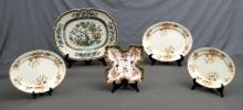 5 Var English Porcelain Plates.  Incl. Royal Crown Derby 4 section plate; early Indian Tree ironstone platter: & graduated set 3 Eton late Mayers platters.