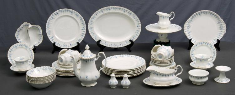 57 Pce Royal Albert Dinner Service.  'Memory Lane' pattern. Settings for 8 in all pieces, except 6 only dessert bowls, & 7 only entree plates.