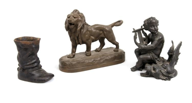 3 Var Early Spelter Items.  Incl. standing lion; boy with lyre; & riding boot.