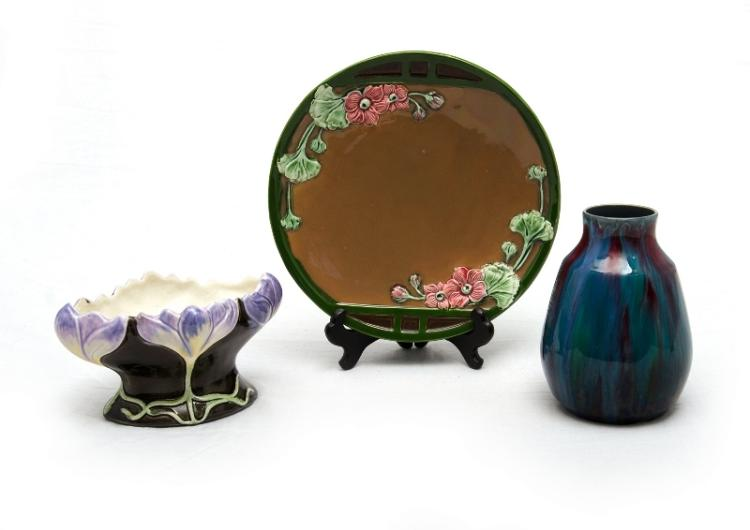 3 Var Pces German & Austrian Majolica. Incl. Eichwald moulded plate; crocus flower moulded vase; & blue purple running glaze vase marked 'BKK.'