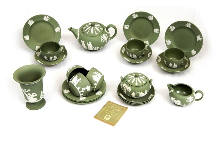 21 Pce Wedgwood Green Jasperware Tea Set etc.  Incl. 6 cups, saucers & plates; sugar bowl; milk jug; & teapot. Also posy vase of same pattern.