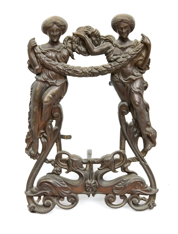 Early Ornamental Iron Table Frame.  2 classical figures to frame. Marked Rd. No. 518884. c1905.