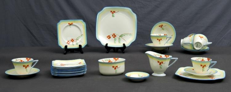 27 Pce Royal Doulton Tea Set.  #V1309, red blossom decoration. Incl. 6 trios, sugar bowl, milk jug, 2 jam dishes, 2 cake plates, & 3 additional side plates.