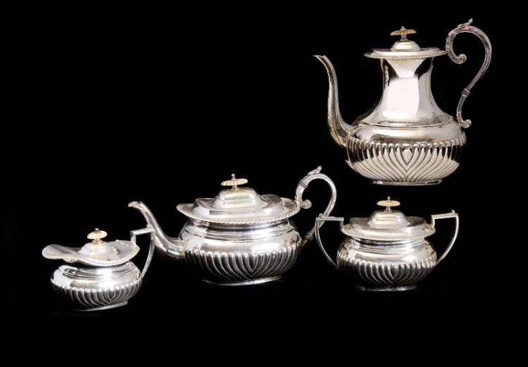 Early 4 Pce Silver Plated Tea & Coffee Service.  Incl. teapot, coffee pot, sugar bowl & cream jug. Reeded bases. Stamped EPBM. Some wear to plate on coffee pot.