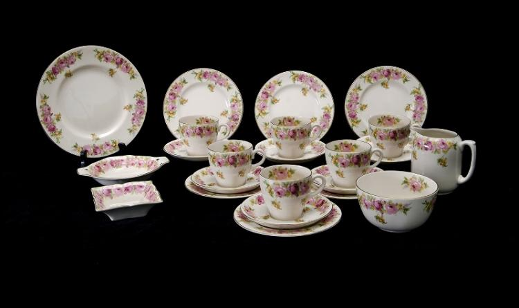 23 Pce Royal Doulton Roses Tea Set.  Incl. 6 trios, sugar bowl, cream jug, 2 various jam dishes, & cake plate.