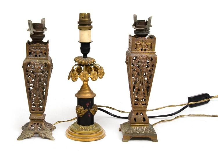 3 Various Early Electrified Brass Boudoir Lamps. Pierced decoration.