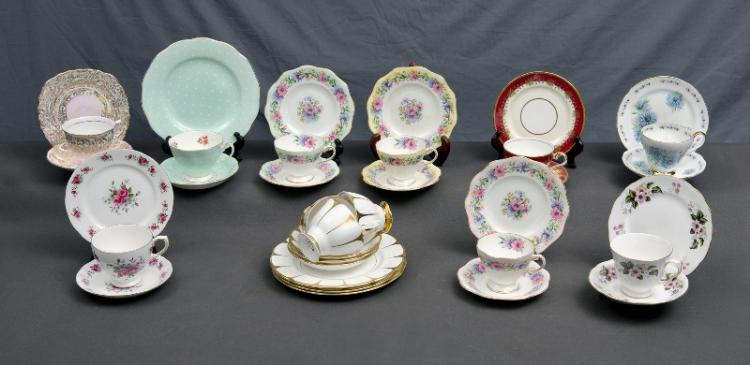 12 Var English Trios.  Incl. 3 matching Royal Vale; Royal Albert; Foley Brothers; Aynsley etc.