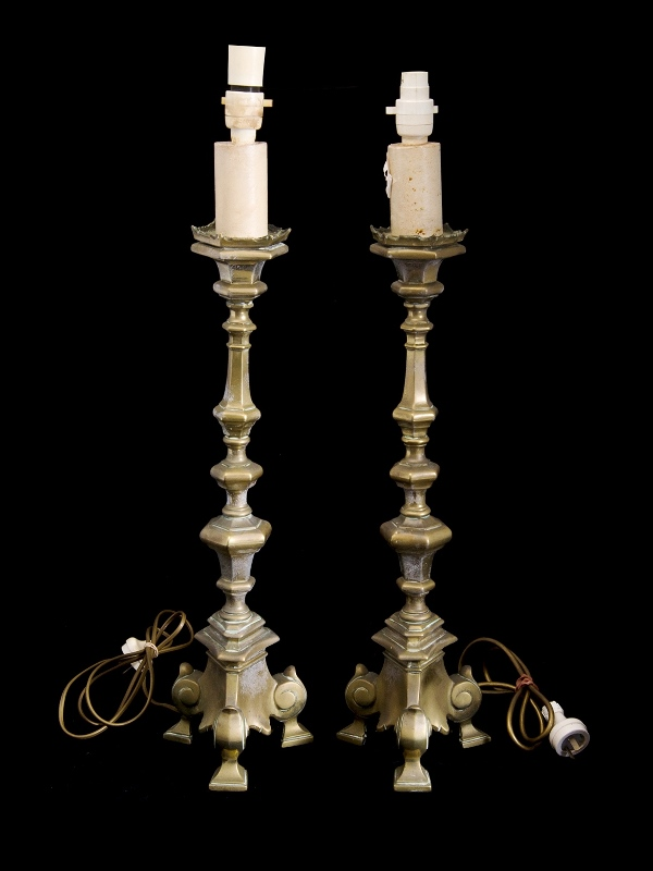 Pr Early Brass Table Lamps. Electrified. Possibly converted fuel lamps. Tall columns to tri-footed bases.