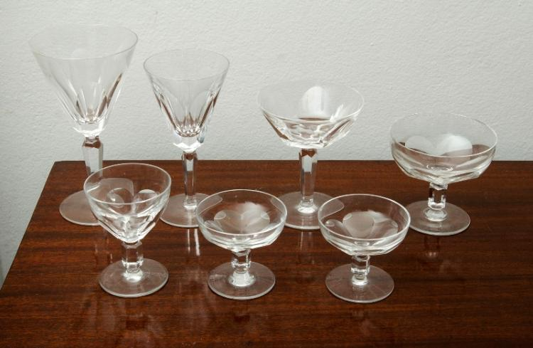 Extensive Waterford Crystal Wine Glass Collection etc.  Total of 82 matching & near matching glasses, incl. sets of red wine (10 glasses); white wine; (8 &10); water glasses (11); whisky glasses (7); champagne glasses (12); liqueur glasses (6) etc; also 9 similar glass bowls; & carafe.