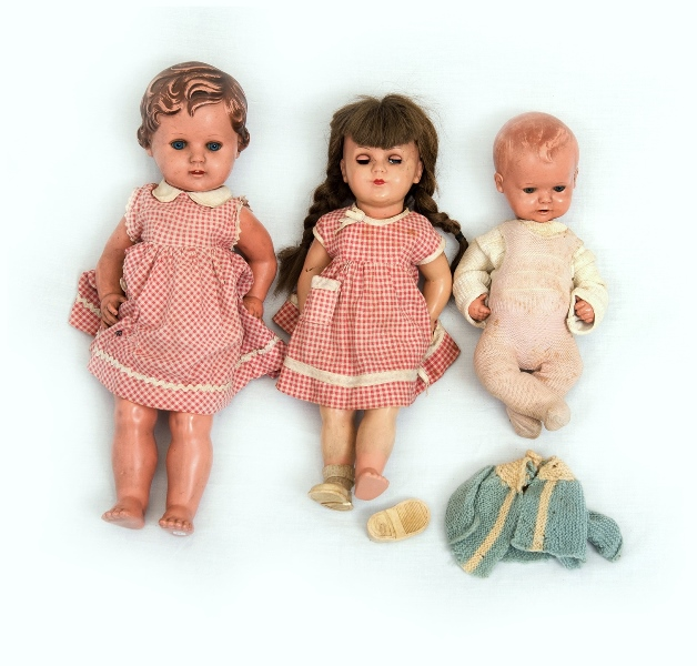 3 Var Turtle Mark Dolls.  All dressed (1 as inspected). Celluloid heads & bodies. 2 various girl dolls; & 1 baby.