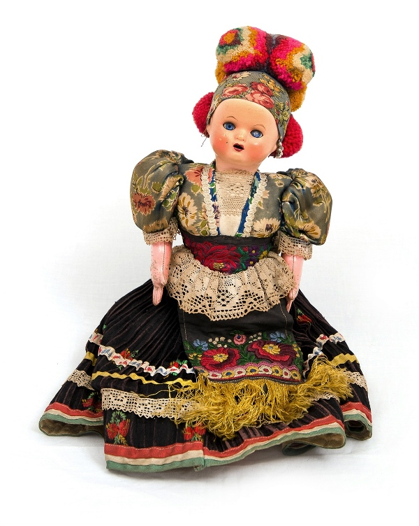European National Doll.  Composition head with closing eyes. Limbs are sewn material. Fully dressed in original national dress (Polish?).