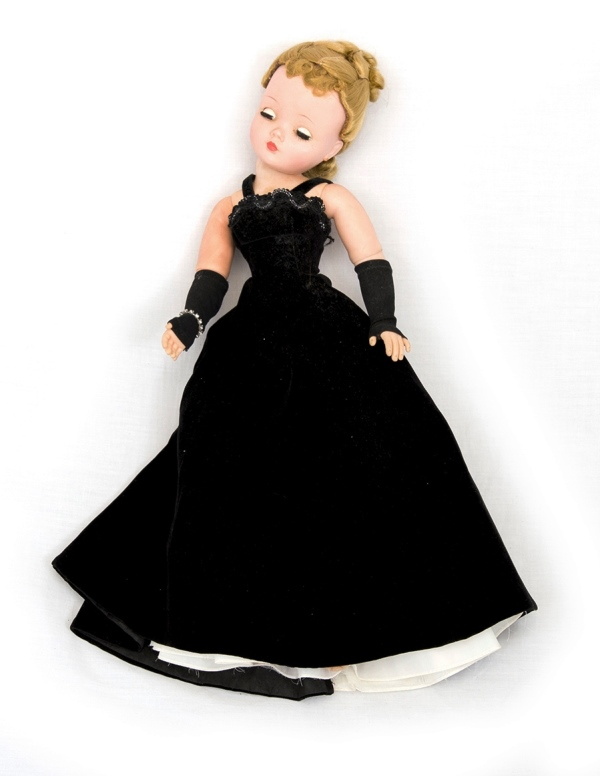 Dressed Madame Alexander Doll.  Closing eyes. Composition head & body. Flexible limbs. Dressed in velvet evening gown.