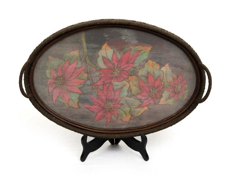 Australian Pokerwork Tray.  Tray with stringed frame & pokerwork base, pointsettia decoration, glassed surface, dual handled. Hand written note verso 'Xmas 1929.'