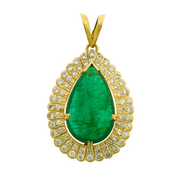 18ct Yellow Gold & Diamond Set Emerald Pendant.  Bright green cabochon natural emerald; pear shaped (approx. 8ct). Surrounded by 64 full cut diamonds (approx. 1ct total). In hand made setting.