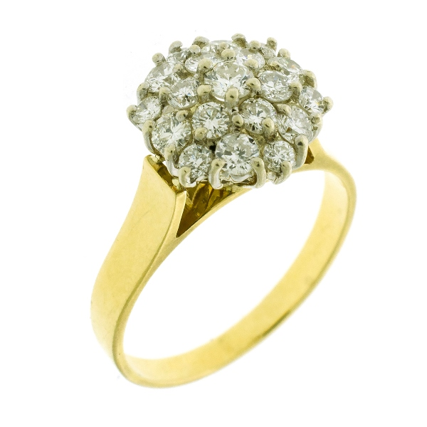 18ct Yellow Gold Diamond Ring.  Set with 19 round brilliant cut diamonds (total approx. 0.90cts). Valuation certificate available.