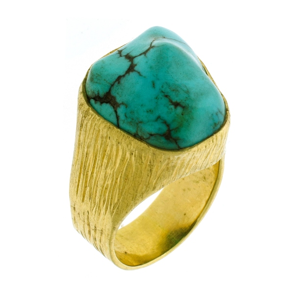 18ct Yellow Gold Turquoise Ring.