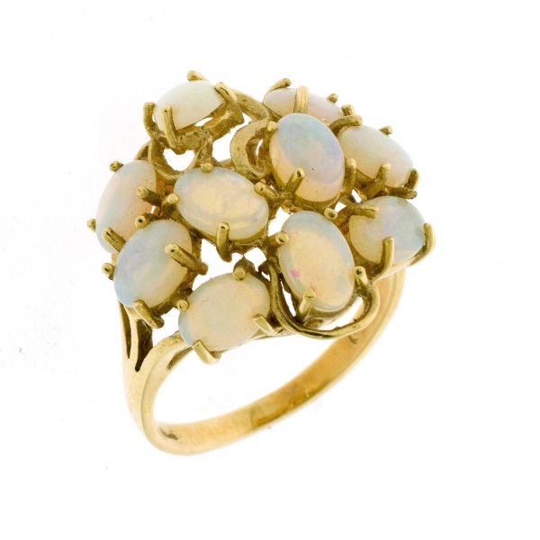 9ct Yellow Gold Opal Dress Ring. Claw set with 10 oval opals in circular design.