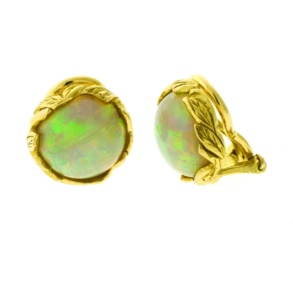 Pr 18ct Yellow Gold Opal Earrings.  Cabochon cut circular opals (total approx. 6.9cts). Valuation certificate available.