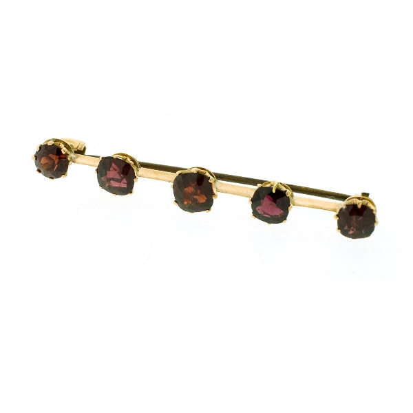 Yellow Gold Garnet Bar Brooch.  5 claw set garnets (total approx. 5cts)