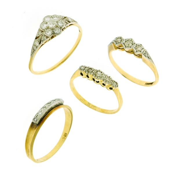 4 Var 18ct Yellow Gold Diamond Rings.  Incl. 7 stone floral pattern with additional shoulder diamonds; & 3 var with diamonds set in-line.