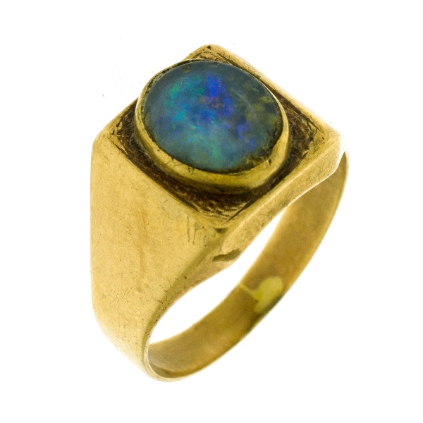 Yellow Gold Opal Doublet Ring
