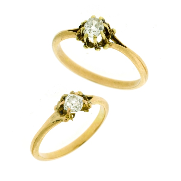 2 Var Yellow Gold Diamond Rings. Both claw set old mine cut diamonds, (approx. 0.25ct each). 1 setting A/F
