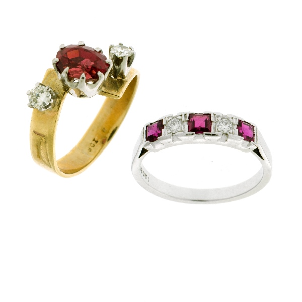 2 Var Ruby & Diamond Rings.  Incl. 3 rubies & 2 diamond eternity ring; & central ruby & 2 shoulder diamond dress ring.