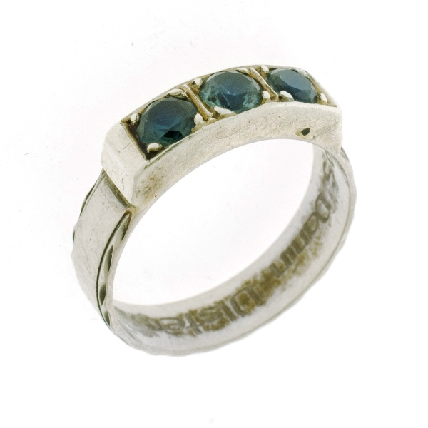 18ct White Gold Sapphire Ring.  3 lively blue-green sapphires set in line.