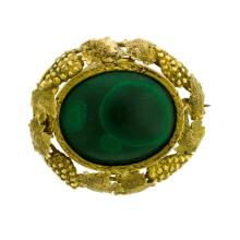 18ct Yellow Gold Colonial Australian Malachite Brooch.  Oval malachite set in yellow gold grape & leaf embossed frame, (tests for 18ct.)