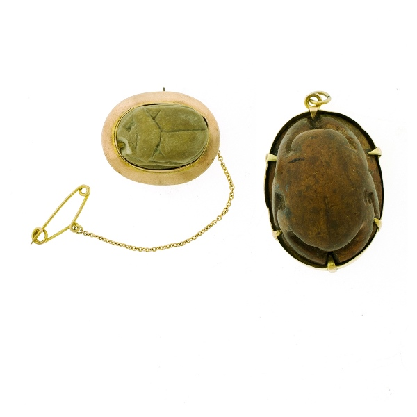 2 Var Yellow Gold WWI Egyptian Souvenirs.  Incl. 9ct mounted carved wood pendant, maker Perryman, Adelaide (provenance: Graham Cox collection); & 9ct mounted scarab form brooch, maker JCK.