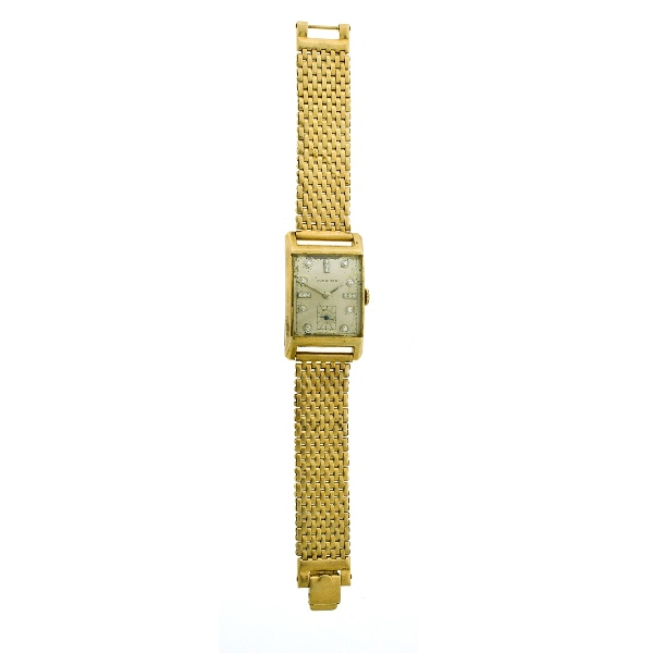 14ct Yellow Gold Longines Mans Watch & Band.  White stone set hour symbols to face. Operating, but may need service.