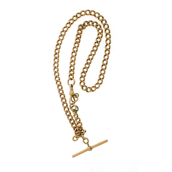 9ct Rose Gold Fob Chain & T-Bar.