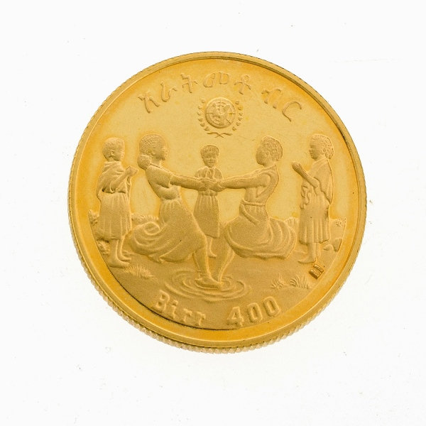 Ethiopian 900/1000 400 Birr Gold Coin. 1972 (1980) International Year of the Child.