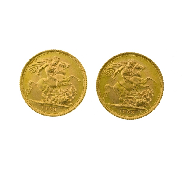 2 1968 QEII Gold Sovereigns.