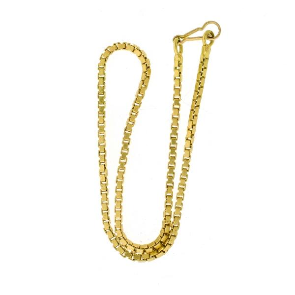 18ct Yellow Gold Box Link Bracelet.
