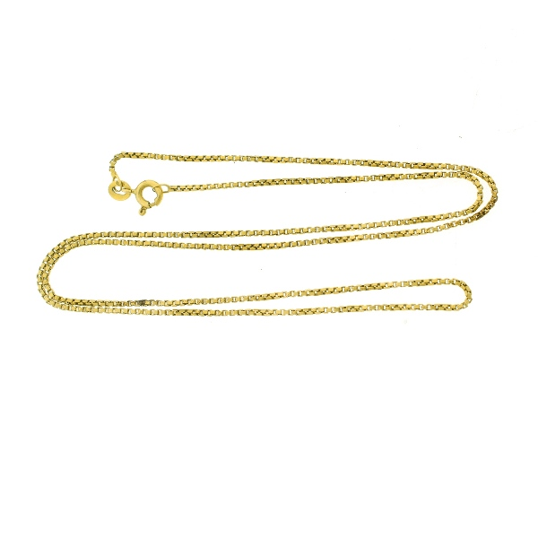 18ct Yellow Gold Box Link Necklace.