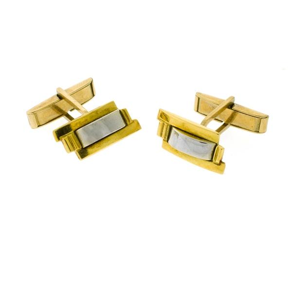 Pr 18ct Yellow & White Gold Cuff Links