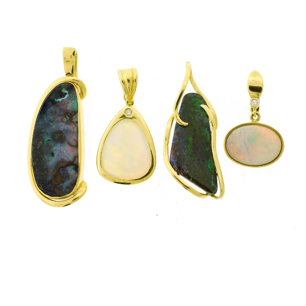 4 Var 18ct Yellow Gold Opal Pendants.  All bezel set opals in yellow gold frames. 2 frames each set with a diamond.