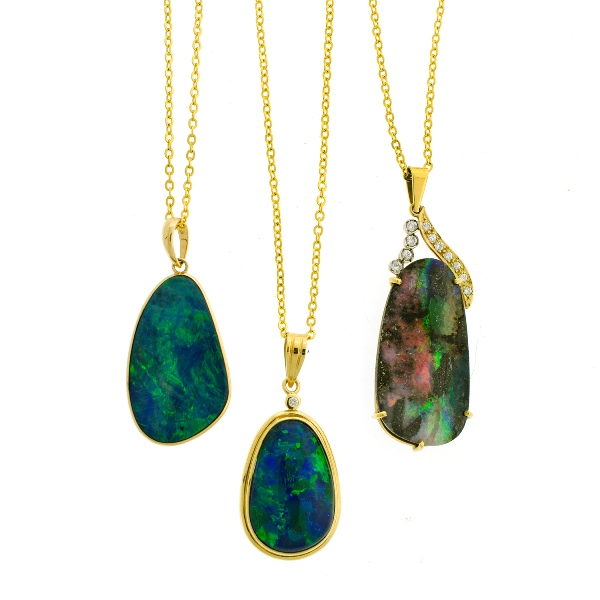 2 Var 18ct Yellow Gold Opal Set Pendants etc.  Incl. 2 boulder & 1 triplet. 1 with claw set stone & 11 diamonds set to frame, bezel set; & 1 other. All 3 on gold plated chain link necklaces.