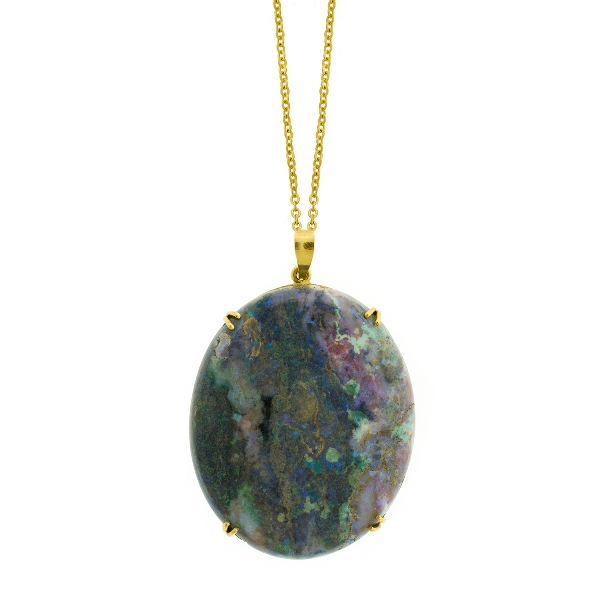 18ct Yellow Gold Framed Solid Opal Pendant.  On rolled gold chain link necklace.