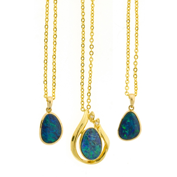 3 Var Yellow Gold Opal Doublet Set Pendants.  All on gold plated chain link necklaces.