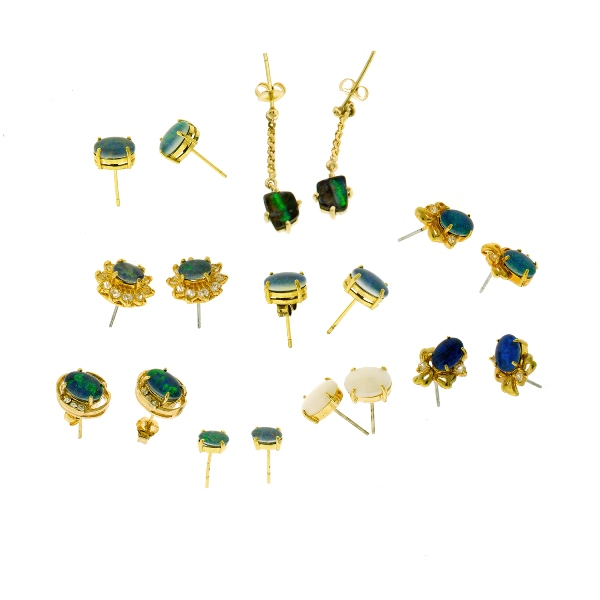 9 Var Pr's Opal Set Earrings.  Incl. 3 pairs solids, & 6 with triplets.