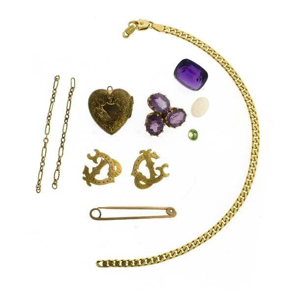 Qty Scrap Gold & Unset Stones.  Stones include opal (2ct); 3 various amethysts; & citrine etc.