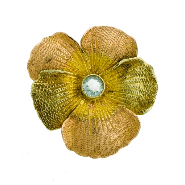 Early 19th C Yellow Gold Brooch.  Central blue stone set in blossom form brooch.