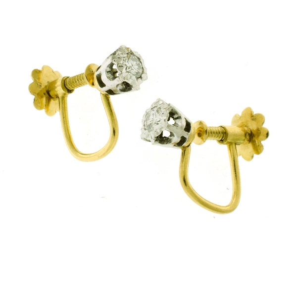 Pr 18ct Yellow Gold Diamond Earrings.  Diamonds approx. 0.16ct in total. Yellow gold screw fittings.
