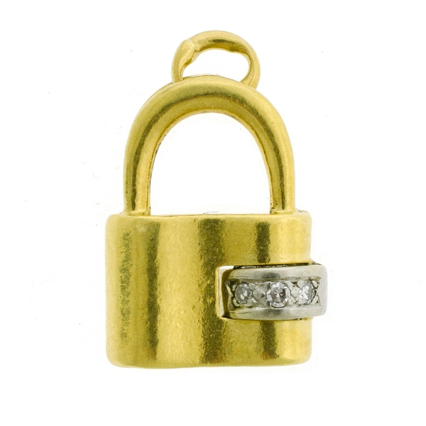 18ct Yellow Gold Diamond Set Padlock Form Charm. Set with 3 diamond (approx. 0.03ct)